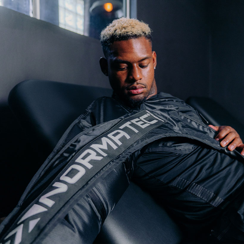 Juju Smith with Normatec Arm Attachment